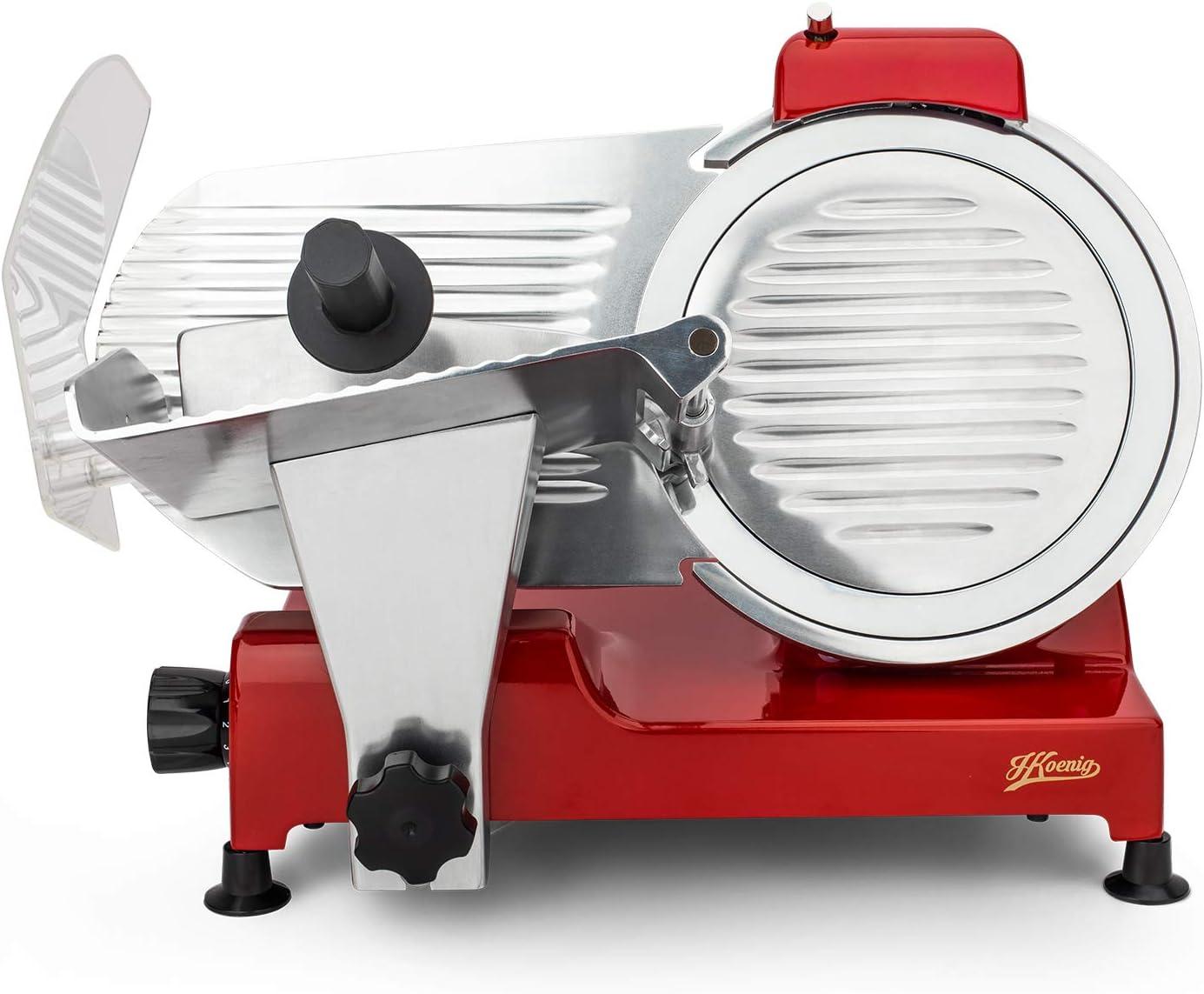 H.Koenig MSX17 professioneller Allesschneider für Schinken und  Fleisch/elektrische Schneidemaschine Käse und Brot/Schnittdicke 17-17  mm/Schneideblatt
