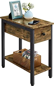 YAHEETECH Narrow End Table with Drawer & Open Shelf for Living Room, 2 Tier Industrial Sofa Side Table with Storage, Wood-Like Accent Table for Small Space, Rustic Brown