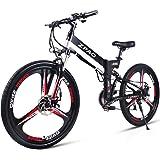GTYW 26 Pulgadas Bicicleta Plegable Eléctrica Bicicleta De Montaña Adulto Bicicleta Eléctrico Litio Adulto Plegable Mini Motocicleta Eléctrica 90 Km Duración De La Batería,Black-180*102*65cm