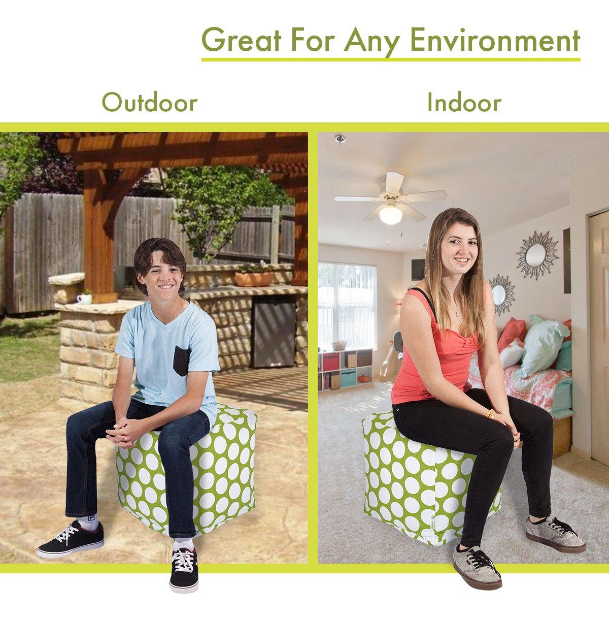 Majestic Home Goods 85907210126 Hot Green Large Polka Dot Bean Bag Ottoman Pouf Cube L W x 17 H