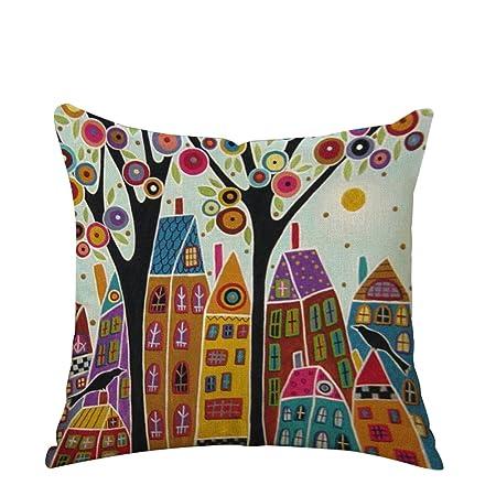 BIGBOBA Funda de cojín de lino con patrón de árbol de la vida, funda de cojín de lino para sofá, cama, decoración del hogar, plantas, flores, funda de ...