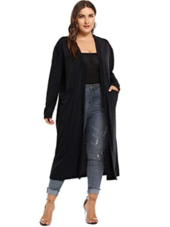 a5bc7af5e Romwe Women's Plus Size Solid Lightweight Open Front Long Maxi Cardigan  Sweater with Pockets Black 1XL