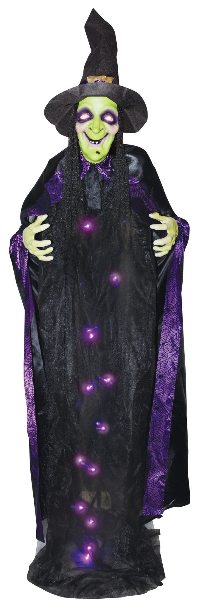 Lifesize 6' Light Up Talking Witch Halloween Standing Prop Decoration by The Gothic Collection