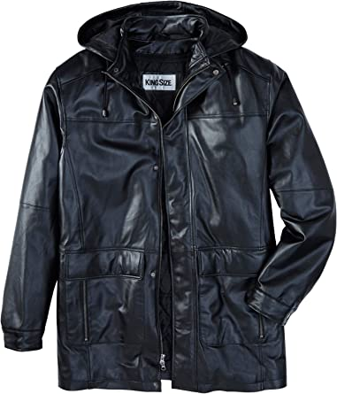 Men'S Leather Parka With Hood