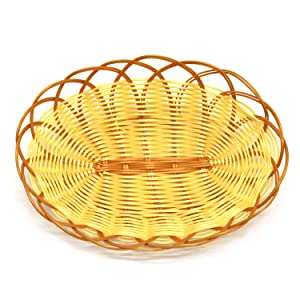 6 Pcs Oval Hand-Woven Basket, Food Serving Baskets, Snack Basket, Fruit Small Plate, Hot Pot Basket(8.3x5.9x2Inch)