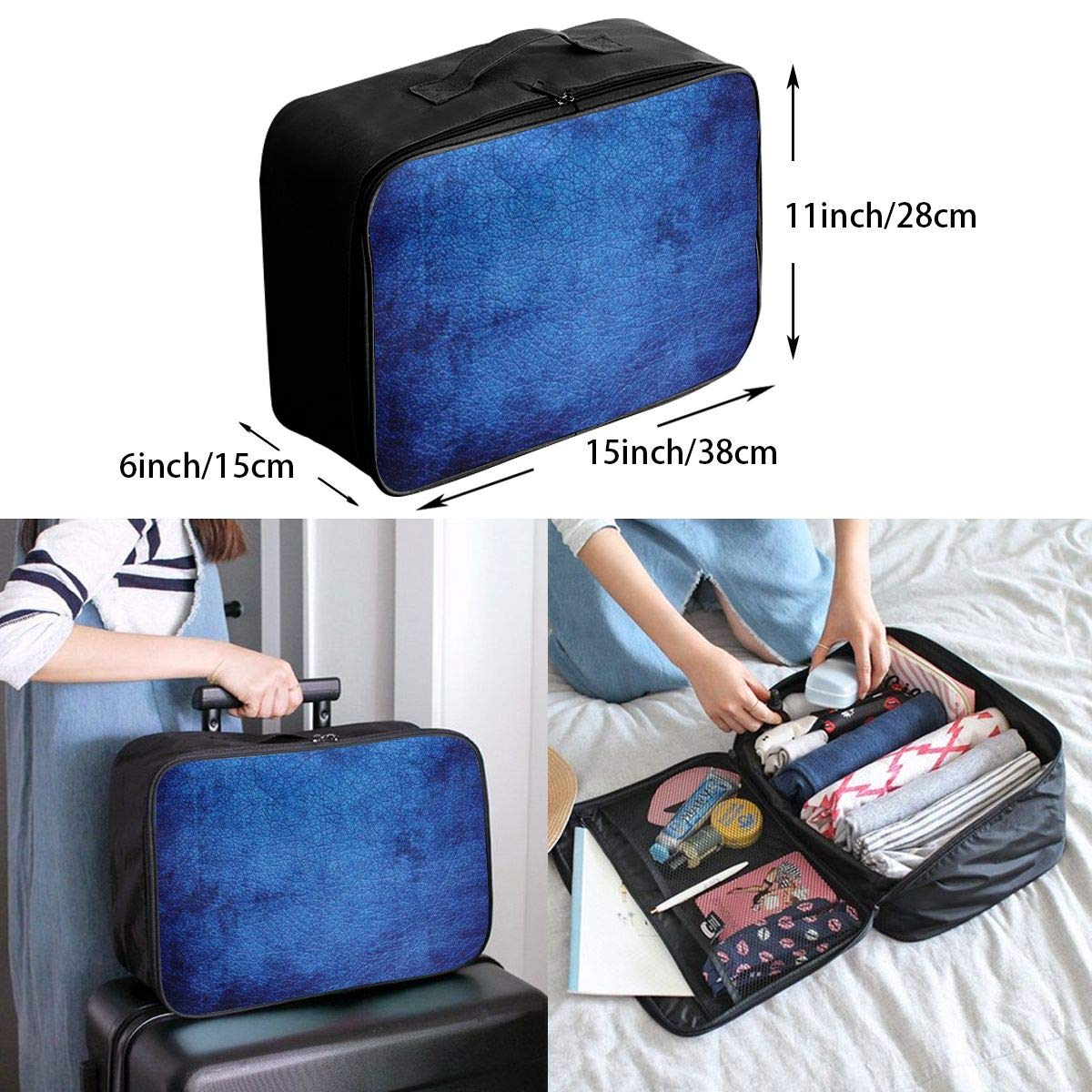 Pure Abstract Navy Blue Simple Texture Travel Lightweight Waterproof Folding Storage Portable Luggage Duffle Tote Bag Large Capacity In Trolley Handle Bags 6x11x15 Inch
