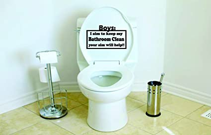 5 X 4 Boys I Aim To Keep My Bathroom Clean Your Aim Will Help Vinyl Die Cut Decal For Your Toilet Lid