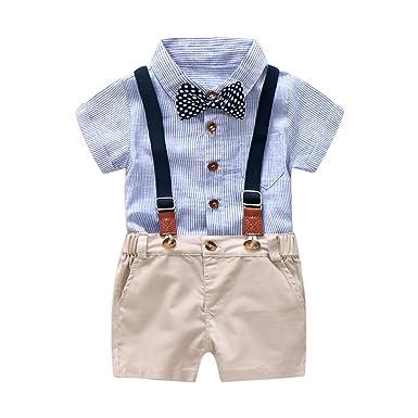 3739b035 Baby Boys Gentleman Outfits Suits, Infant Blue Shirt+Bib  Shorts+Tie+Suspenders