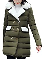 Aishang Women's Fur Collar Coat Double Breasted Diamond-Quilted Puffer Jackets