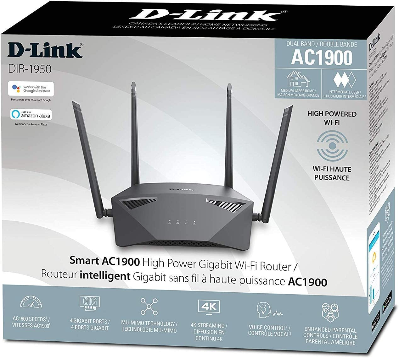 DIR-1950-US black MU-MIMO Dual Band Gigabit Gaming D-Link WiFi Router AC1900 Mesh Smart Internet Network Works with Alexa /& Google Assistant