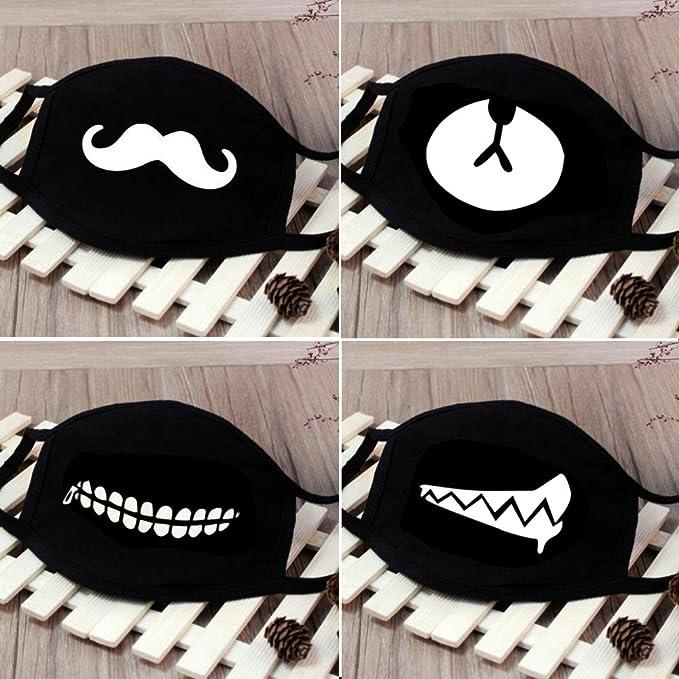 b051ea0d4ef Amazon.com  fomei 6 Pack Cool Luminous Unisex Cotton Blend Anti Dust Face  Mouth Mask Black for Man Woman  Sports   Outdoors