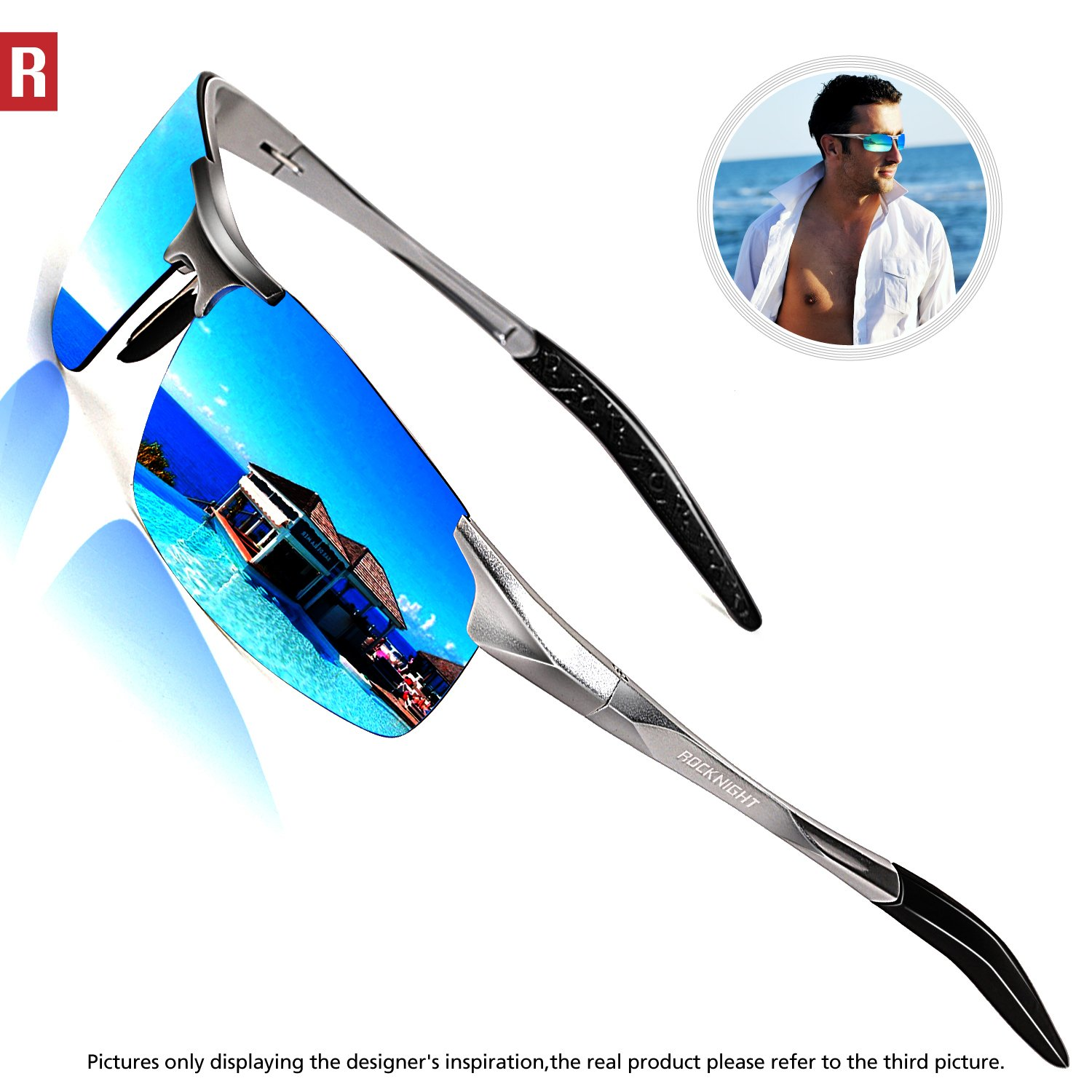 ROCKNIGHT Driving Polarized Sunglasses For Men UV Protection Mirrored Sunglasses Ultra Lightweight Al-Mg Metal Outdoor Golf Fishing Sports Sunglasses Rimless by ROCKNIGHT