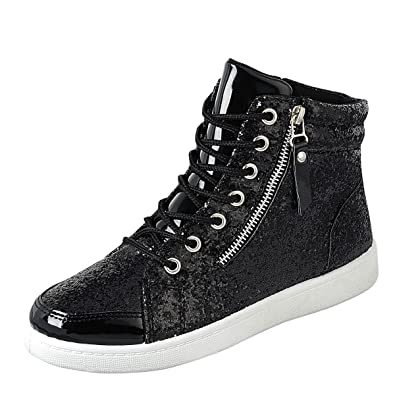 Link Womens Hi Top Glitter Lace Up Ankle Booties Fitness Trainer Fashion Sneakers