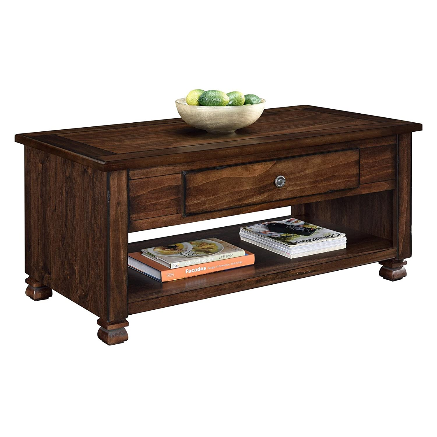 Wood veneer coffee table espresso finish rectangle shape living room furniture solid wood carved legs profiled edges drawer bundle with our expert