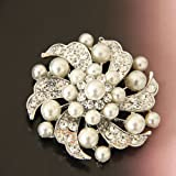 "milliongadgets® 2"" SILVER FAUX PEARL FLOWER BROOCH DIAMANTE CRYSTAL WEDDING BRIDAL PARTY BROACH"
