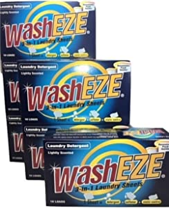 Washeze 3-in-1 (Laundry Detergent Sheets) Lightly Scented 60 Loads Great For Busy Moms More Convenient Than Pods Pacs Liquids or Powders