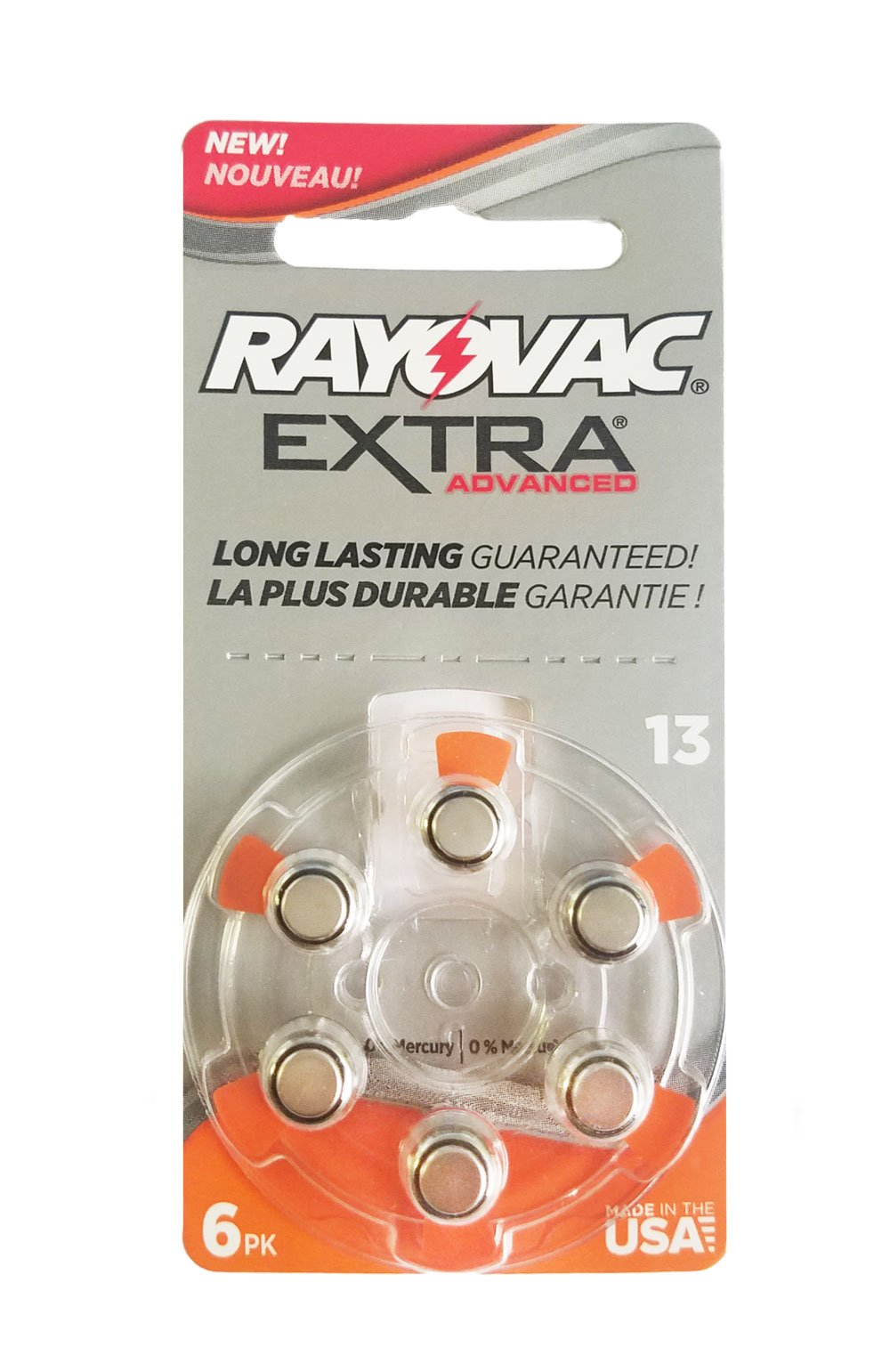 60 Rayovac Extra Mercury Free Hearing Aid Batteries Size: 13 + Battery Holder Keychain Kit by Rayovac