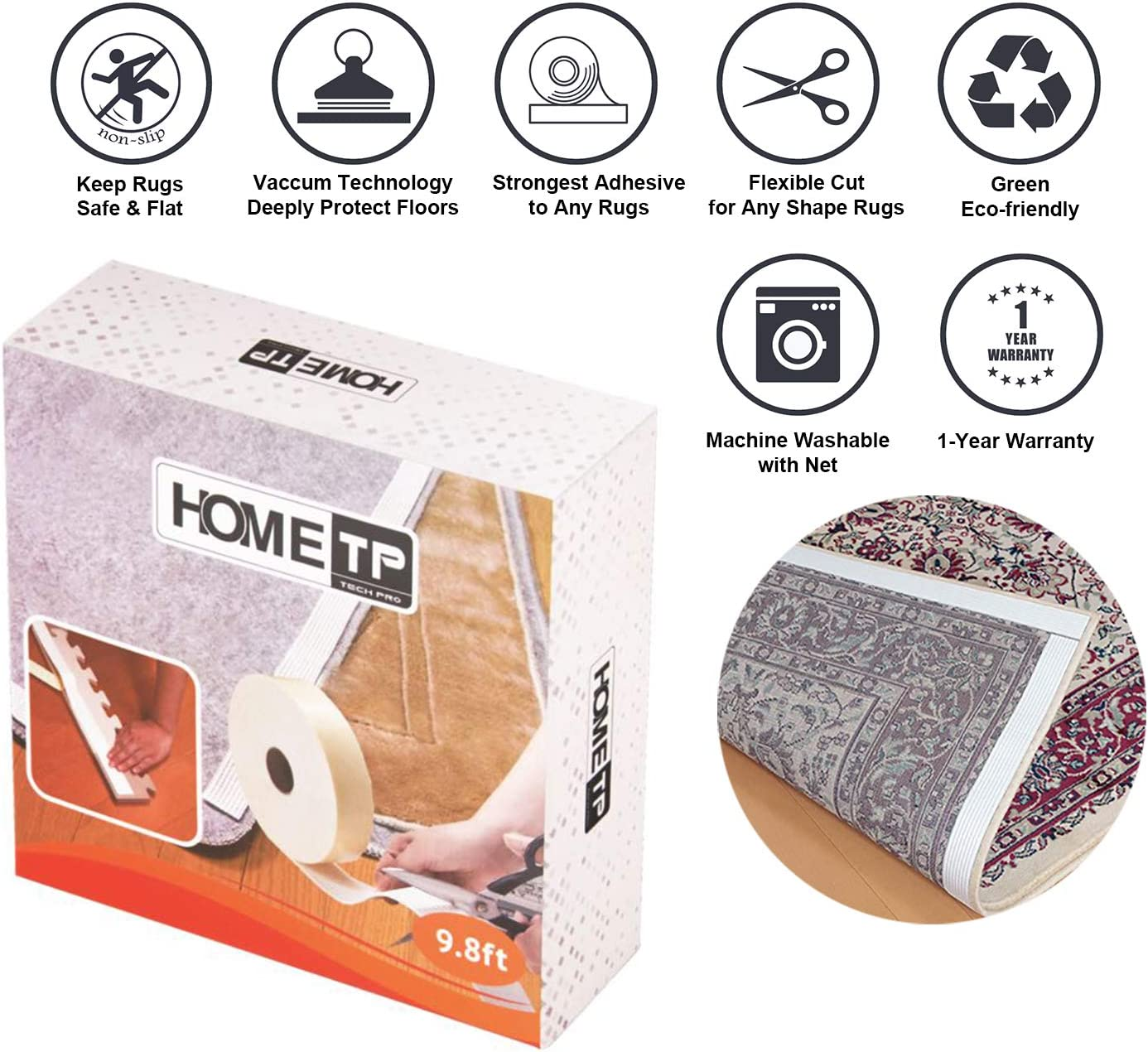 """Home Techpro Area Rug Gripper for Hardwood Floors, 9.8Ft Premium Washable Non-Slip Rug Grippers """"Vacuum Tech"""" -New Materials to Anti Curling : Keep Your Rugs in Place and Make Corner Flat"""