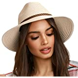 FURTALK Sun Hats for Women Summer Wide Brim UV UPF 50+ Panama Fedora Foldable Packable Straw Beach Hat