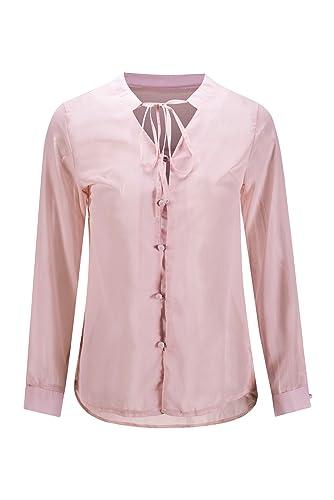 Beauty7 Camisa para Mujer de Cuello en V de Gasa con Una Cinta Ata por El Cuello Manga Larga para El...