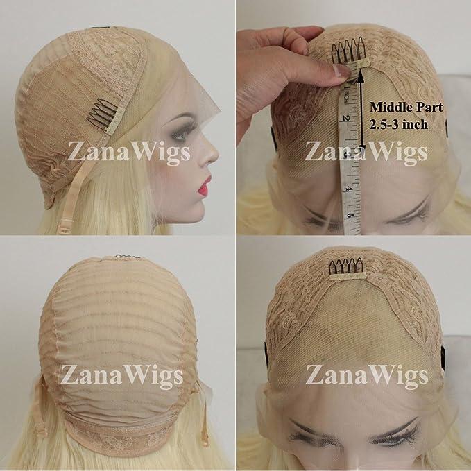 ZanaWigs Peluca de pelo sintético largo, recto y rubio #613, de encaje, para hombre o mujer, atada a mano: Amazon.es: Belleza