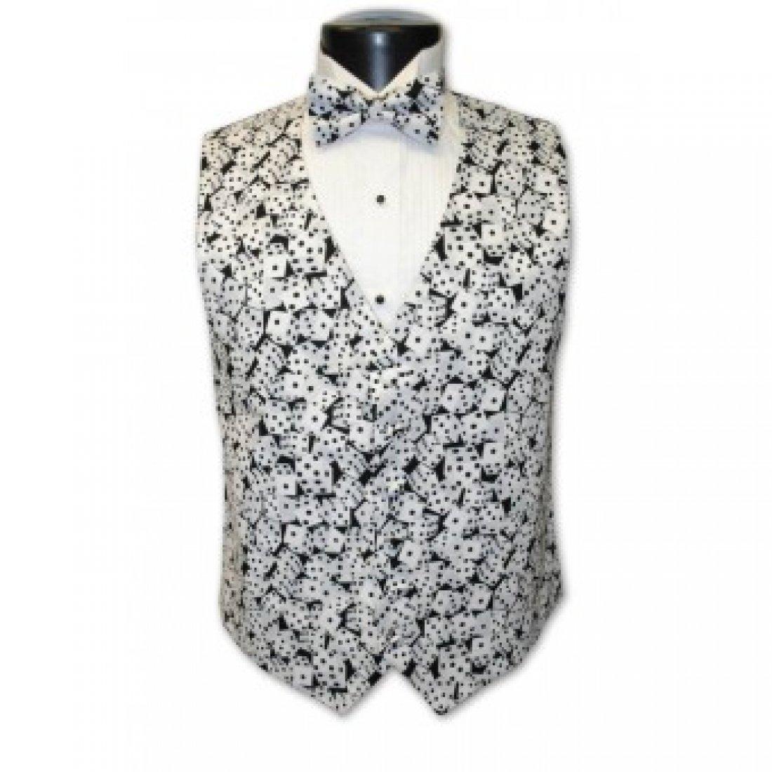 Vegas Black and White Dice Tuxedo Vest and Bow Tie Size Medium