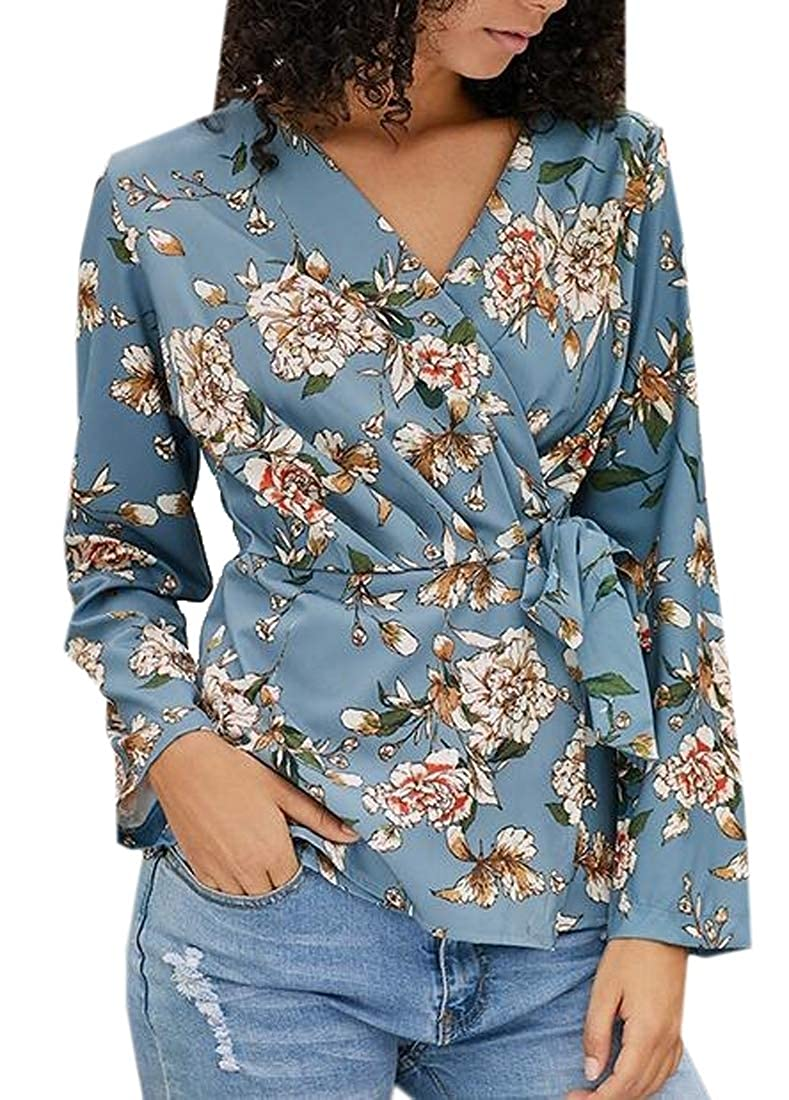 Domple Womens V-Neck Slim Fit Long Sleeve Floral Print Blouse Top T-Shirt