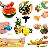 Fruit Slicer Peeler 14pcs Set BY AUSPA KT01 All-In-One Value Pack: Orange Citrus Lemon Garlic Kiwi Cantaloupe Vegetable Peeler, Avocado Banana Watermelon Slicer, Pineapple Corer, Kitchen Tool