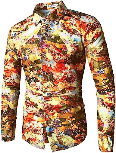 Qingduomao Hombres Flor Camisa de Manga Larga Estampada Camisas de Corte Slim Vintage: Amazon.es: Ropa y accesorios
