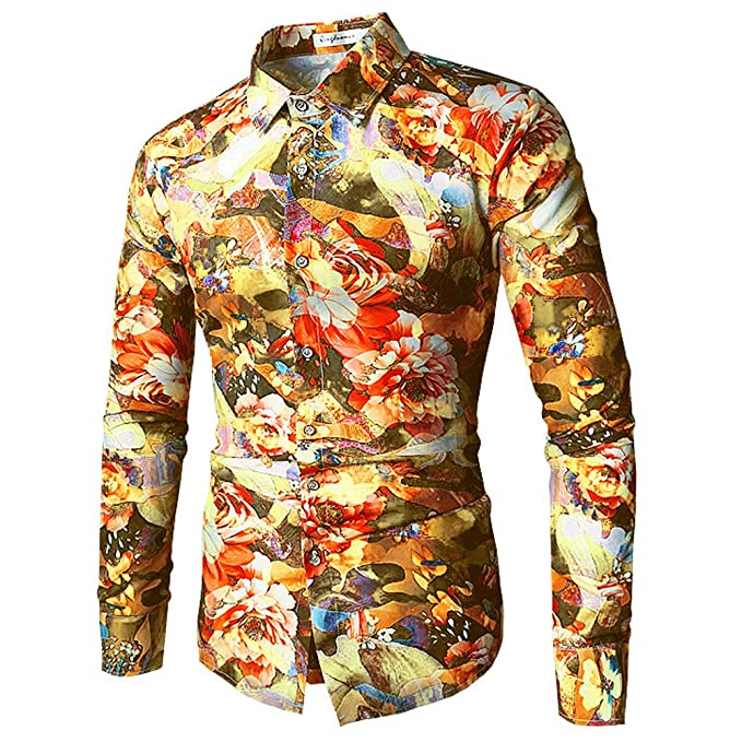 PIZZ ANNU Blusa de Hombre, Camisa de Moda Estampada de Los Hombres Camisa de Manga