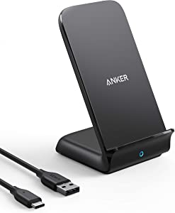 Anker 15W Max Wireless Charger with USB-C, PowerWave 7.5 Stand, Qi Certified Fast Charging for iPhone 12, 12 Pro Max, SE, 11, 11 Pro, 11 Pro Max, Galaxy S20 S10 & More (No AC Adapter)