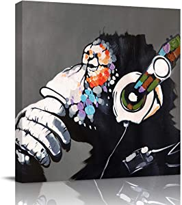 Cool Ape Listening Music with Headphone Canvas Wall Art,Square Art Painting Artworks for Office Home Decor,Stretched by Wooden Frame,Ready to Hang,16 x 16 Inch