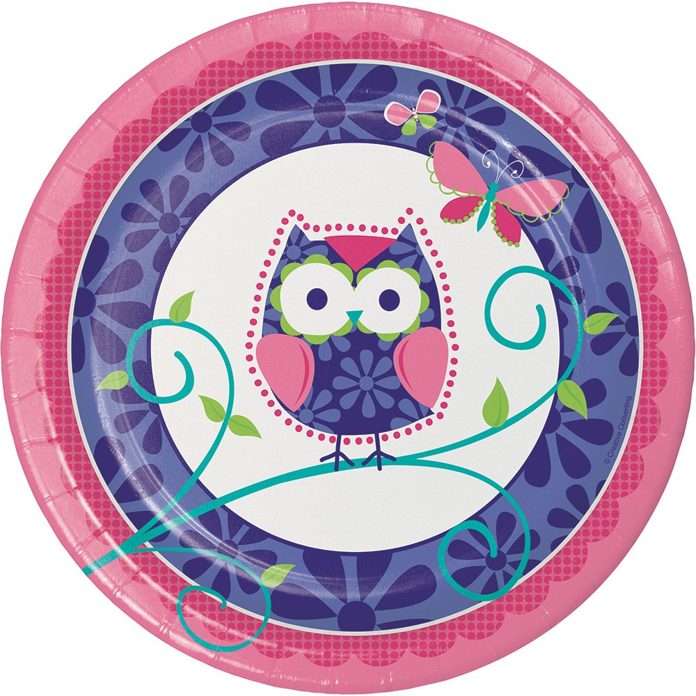 Creative Converting 96-Count Owl Pal Round Dinner Birthday Party Paper Plates, Made in the USA