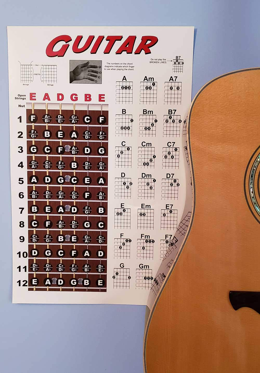 Guitar Fretboard And Chord Chart Instructional Poster How To Read The Diagram Musical Instruments