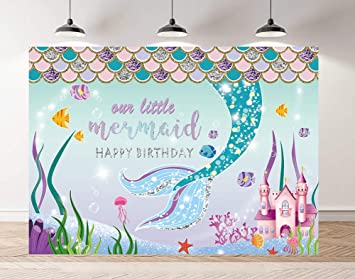 Riyidecor Little Mermaid Backdrop Happy Birthday Party Cartoon Undersea Water Plants 7x5 Feet Colorful Girls Shiny Cute Kids Baby Studio Photography Celebration Props Photo Shoot Vinyl Cloth