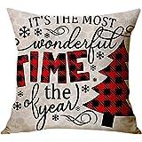 mgirL Christmas Pillow Covers 18x18 Christmas Decor Reindeer Print Pillows Black and Red Buffalo Plaid Christmas…