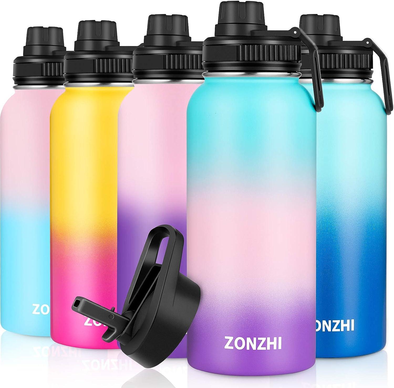 ZONZHI Botella Termica 1L- Botellas de Acero Inoxidable, Sin BPA Botella Agua Deporte, Pajilla & Cepillo de Limpieza Gratuito, Termo Reutilizable- para Niños, Escuela, Hogar, Yoga, Gimnasio, 2Tapa