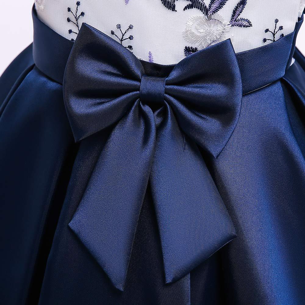 Grouptap Satin Bow Prom Princess Summer Girl Fiesta Infantil Vestido Formal Vestido de Flores Bordado Edad 9-10 11-12 ni/ños
