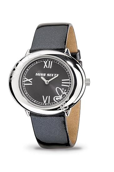 Miss Sixty - Reloj de mujer de cuarzo, correa de piel color negro: Amazon.es: Relojes