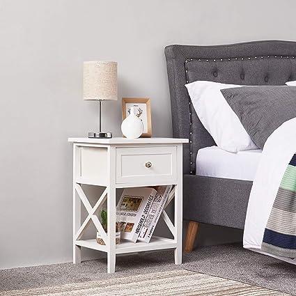 Misssnower Wooden Bedside Table Bedroom Cabinet Nightstand 1