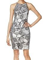 Calvin Klein Womens Metallic Sequined Cocktail Dress
