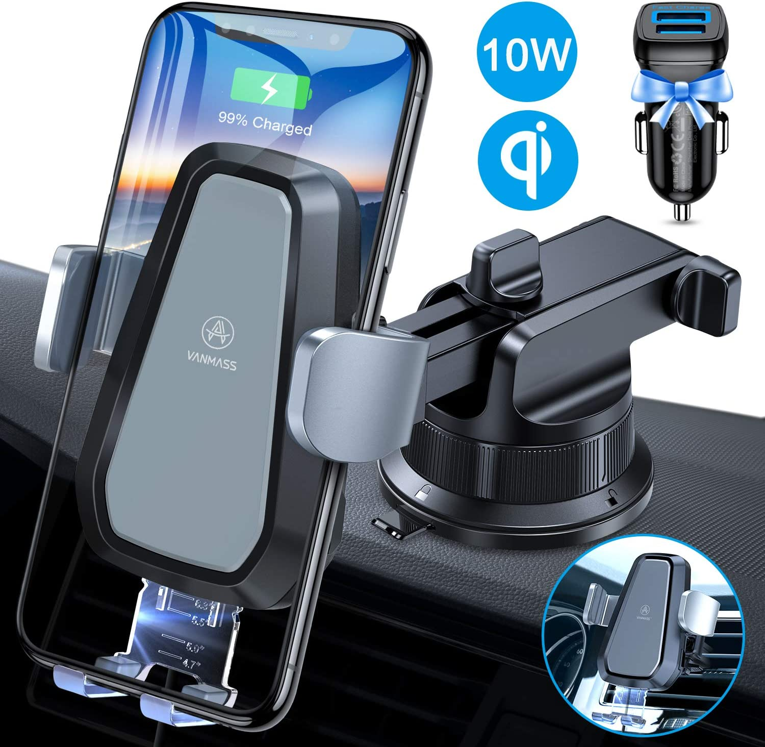 Grebest Item Wireless Car Phone Charger Interior Decoration Car Charger 5W Wireless Air Vent Mount Gravity Car Phone Fast Charger Bracket Holder Stand