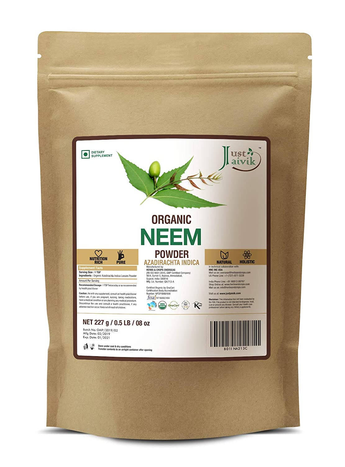 Just Jaivik 100% Organic Neem Leaves Powder - USDA Certified Organic, 227 gms / 1/2 LB Pound / 08 Oz - Azadirachta Indica - Promoting healthy hair and clear skin (AN USDA Organic Certified Herb) : Beauty