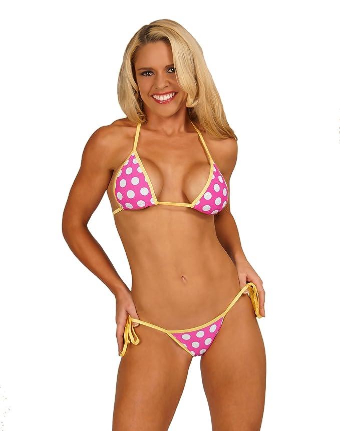 b232c0123cb Amazon.com: Pink w/ White Polka Dots Sexy Scrunch Butt Bikini 2pc Brazilian  Bottom USA Made: Clothing