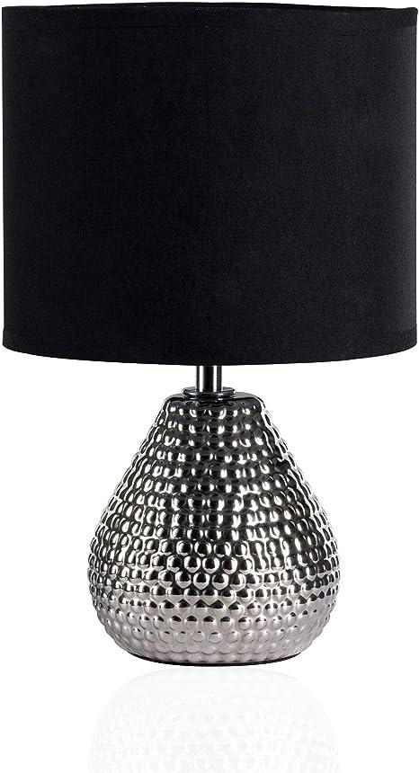 Leuchtenschirm aus schwarzem Stoff Klassische Tischleuchte mit Berührungsdimmer
