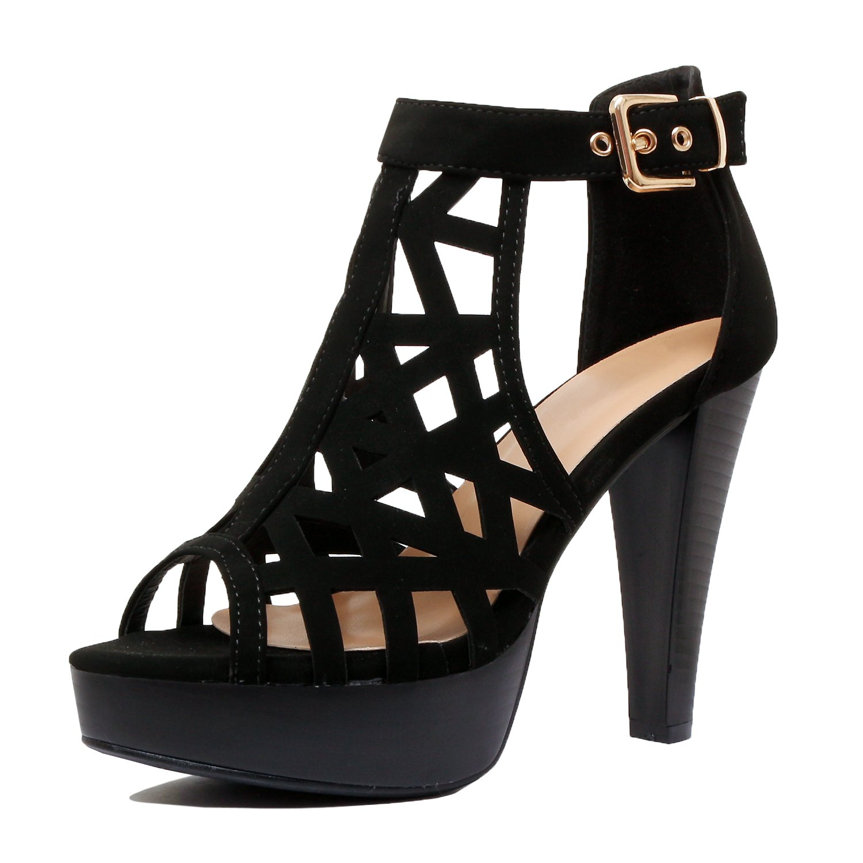 Guilty Shoes - Womens Cutout Gladiator Ankle Strap Platform Fashion High Heel Sandals Heeled Sandals, Blackv3 Pu, 8 B(M) US