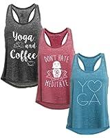 Tough Cookie's Women's Mineral Wash Burnout Tank Top Yoga Print 3 Pack Deal #2
