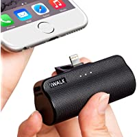 iWALK Mini 3300mAh Portable Charger Built in Connector, Lipstick-Sized External Battery Pack Power Bank Compatible with iPhone Xs max/Xs/XR/X/8/7/6/5, iPad, (Black)