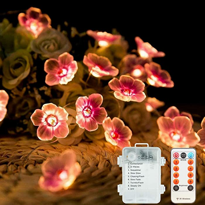Fairy Flower Lights, Battery Operated String Lights with 8 Modes and Remote, Rainproof Japanese Decor, 10ft 30LED Cute Decoration for Bedroom, Christmas, Holidays and More
