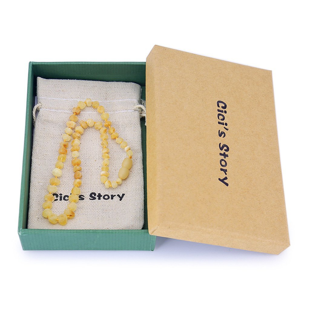 13 Inches Amber Necklace Gift Set - Handcrafted Authentic Amber Unisex Lab-Tested Cognac